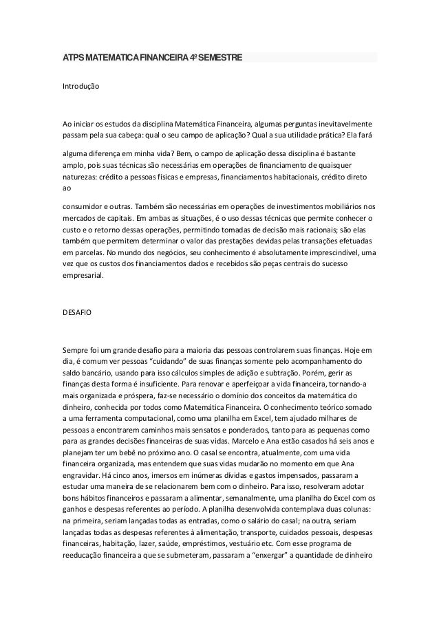 ATPS MATEMATICA FINANCEIRA 4º SEMESTRE Introdução  Ao iniciar os estudos da disciplina Matemática Financeira, algumas perg...