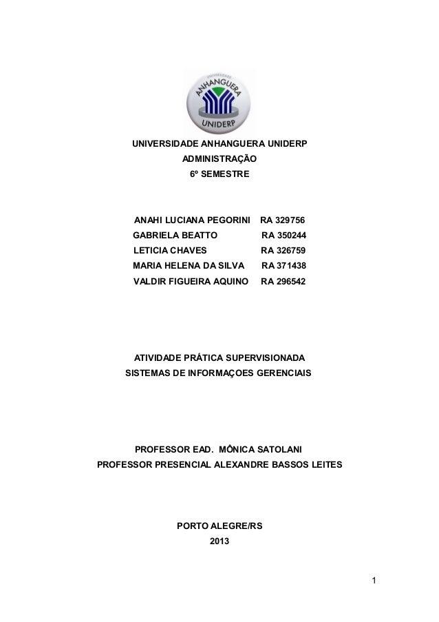 UNIVERSIDADE ANHANGUERA UNIDERP ADMINISTRAÇÃO 6º SEMESTRE  ANAHI LUCIANA PEGORINI  RA 329756  GABRIELA BEATTO  RA 350244  ...