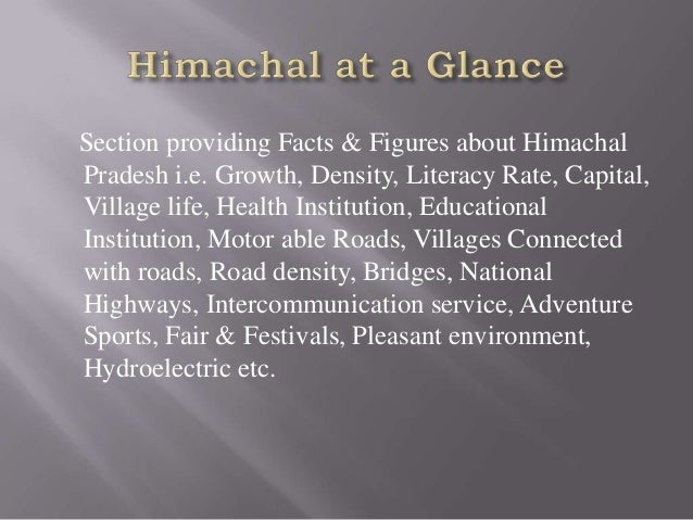 Section providing Facts & Figures about Himachal Pradesh i.e. Growth, Density, Literacy Rate, Capital, Village life, Healt...