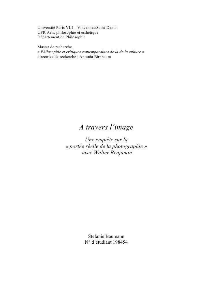 Université Paris VIII – Vincennes/Saint-Denis UFR Arts, philosophie et esthétique Département de Philosophie  Master de re...
