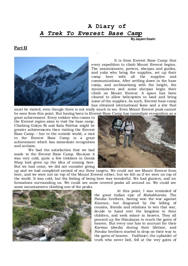 A Diary of              A Trek To Everest Base Camp                                                                    By ...