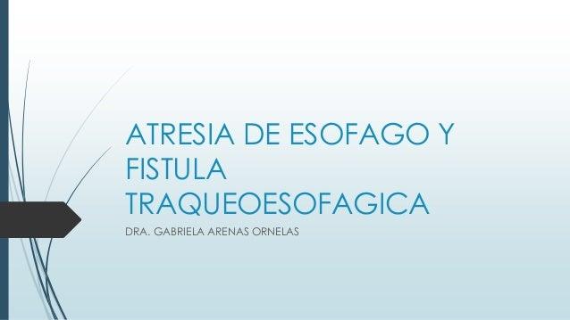 ATRESIA DE ESOFAGO Y FISTULA TRAQUEOESOFAGICA DRA. GABRIELA ARENAS ORNELAS