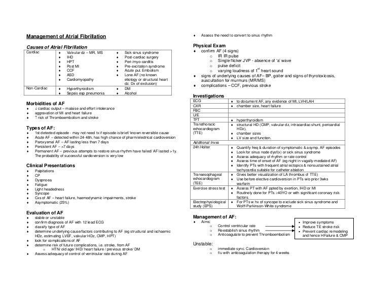 Atrial fibrillation management summary