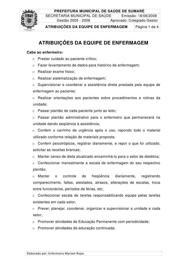 PREFEITURA MUNICIPAL DE SAÚDE DE SUMARÉ              SECRETARIA MUNICIPAL DE SAÚDE      Emissão: 18/06/2008               ...
