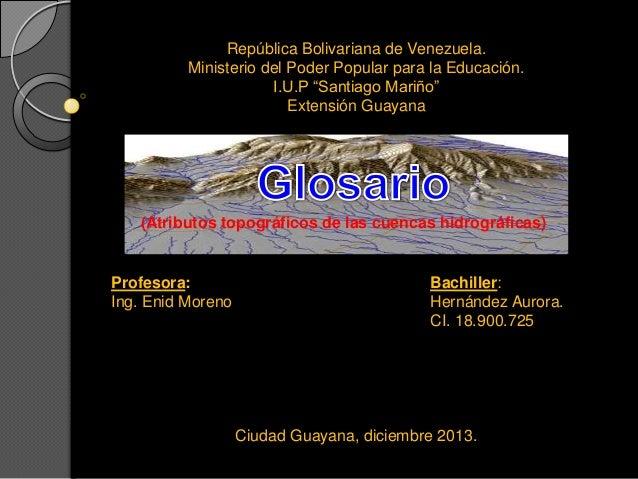 Atributos topograficos de las cuencas hidrograficaas