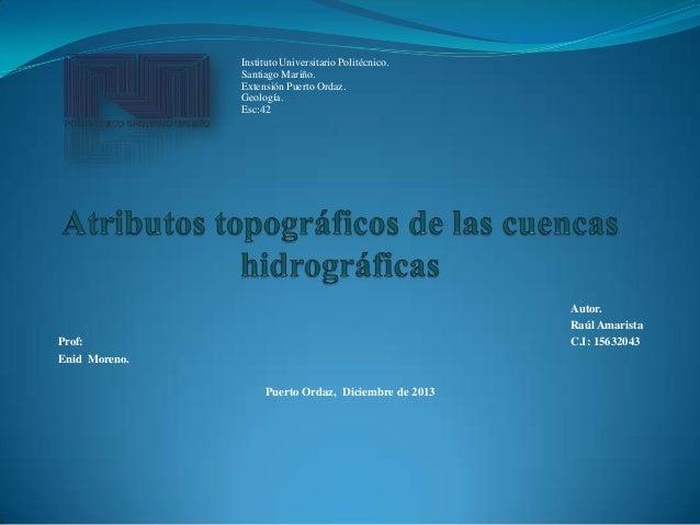 Atributos topográficos de las cuencas hidrográficas