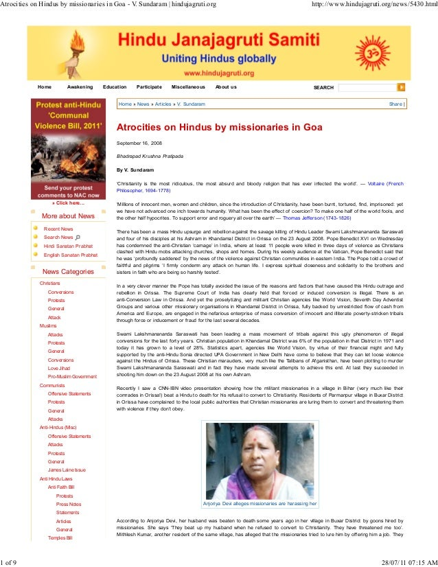 Atrocities on Hindus by missionaries in Goa - V. Sundaram | hindujagruti.org                                              ...