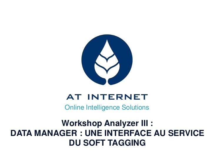 Online Intelligence Solutions         Workshop Analyzer III :DATA MANAGER : UNE INTERFACE AU SERVICE           DU SOFT TAG...