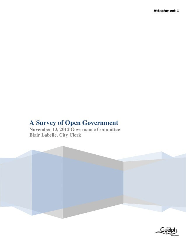 Proposed Open Government Framework for City of Guelph (Survey Report)