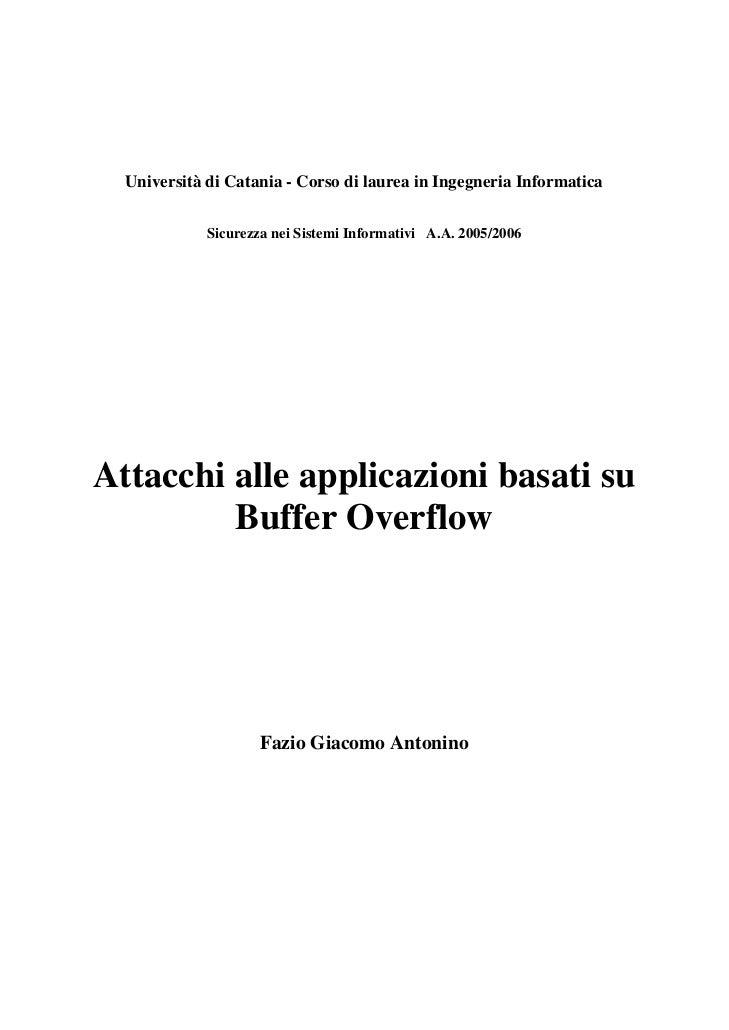 Attacchi alle applicazioni basati su buffer overflow