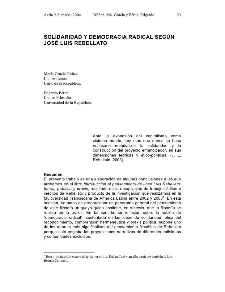 Actio 2.2, marzo 2004               Núñez, Ma. Gracia y Pérez, Edgardo                           23SOLIDARIDAD Y DEMOCRACI...