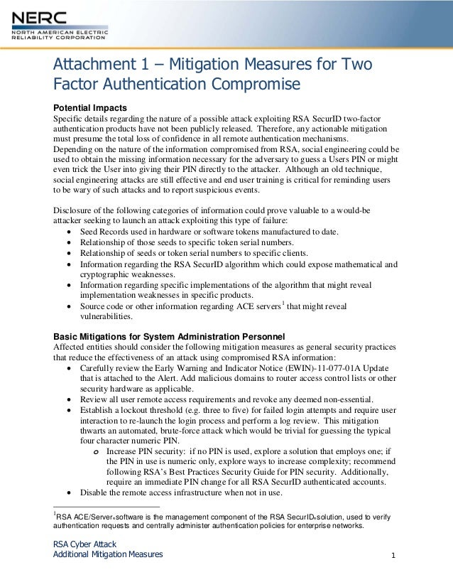 RSA Cyber Attack Additional Mitigation Measures 1 Attachment 1 – Mitigation Measures for Two Factor Authentication Comprom...
