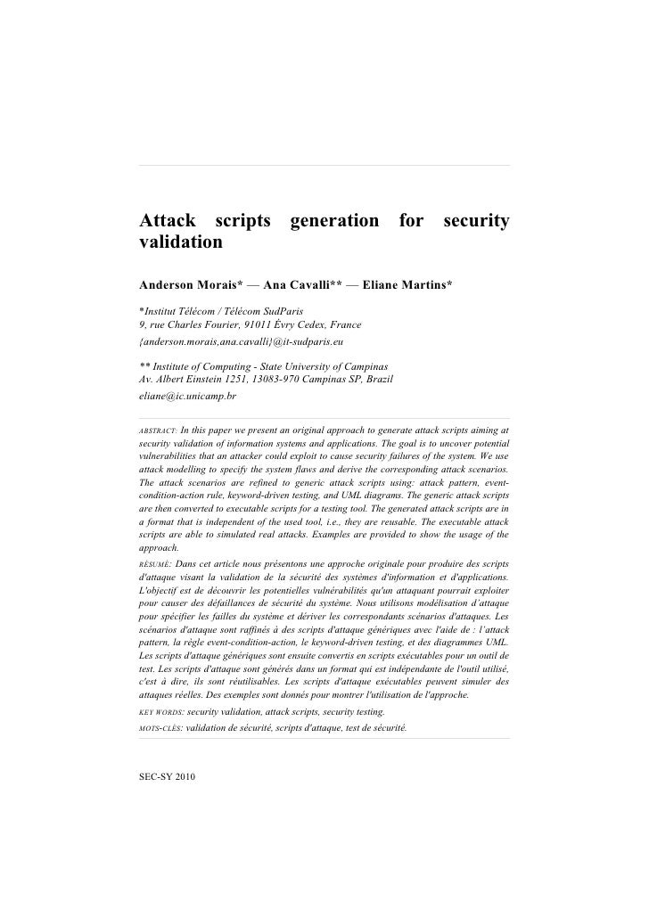 Attack scripts generation for security validation fr