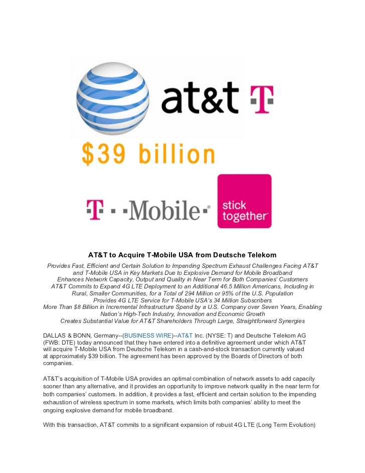 AT&T to Acquire T-Mobile USA from Deutsche Telekom Provides Fast, Efficient and Certain Solution to Impending Spectrum Exh...