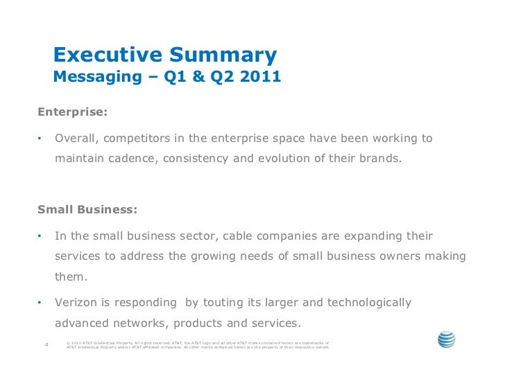 Executive Summary         Messaging – Q1 & Q2 2011Enterprise:•       Overall, competitors in the enterprise space have be...