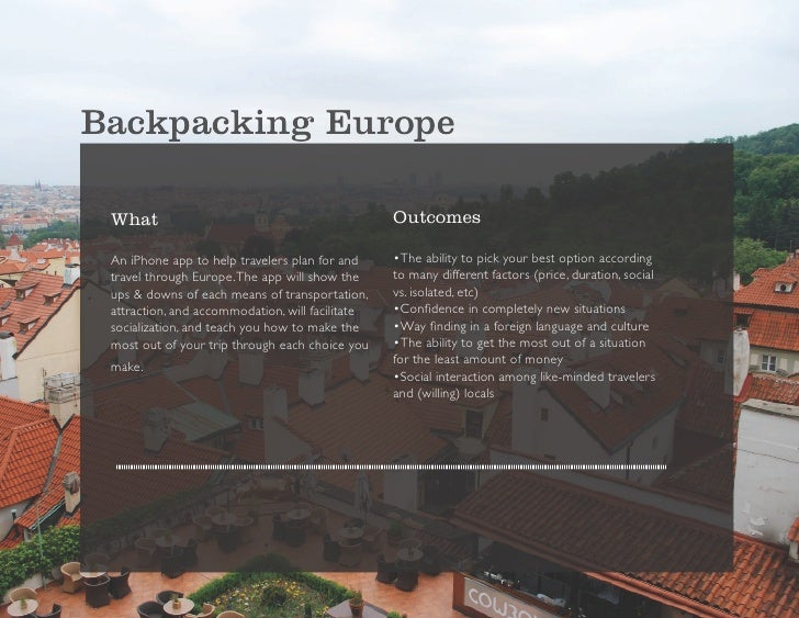 Backpacking Europe   What                                             Outcomes   An iPhone app to help travelers plan for ...