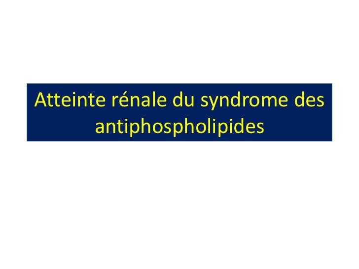Atteinte rénale du syndrome des       antiphospholipides