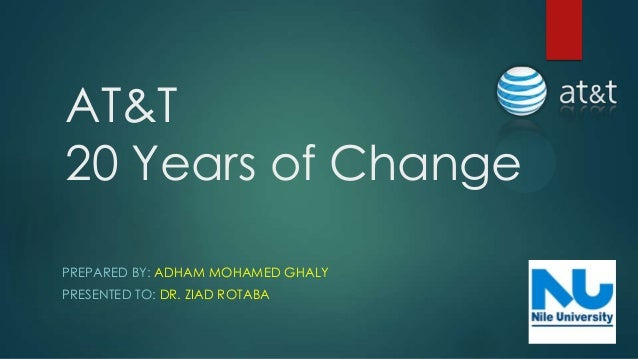 AT&T20 Years of ChangePREPARED BY: ADHAM MOHAMED GHALYPRESENTED TO: DR. ZIAD ROTABA
