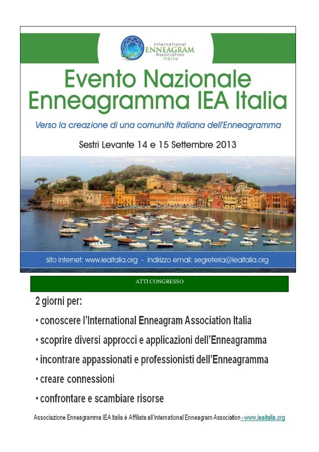 Atti Evento Nazionale Enneagramma IEA Italia 2013