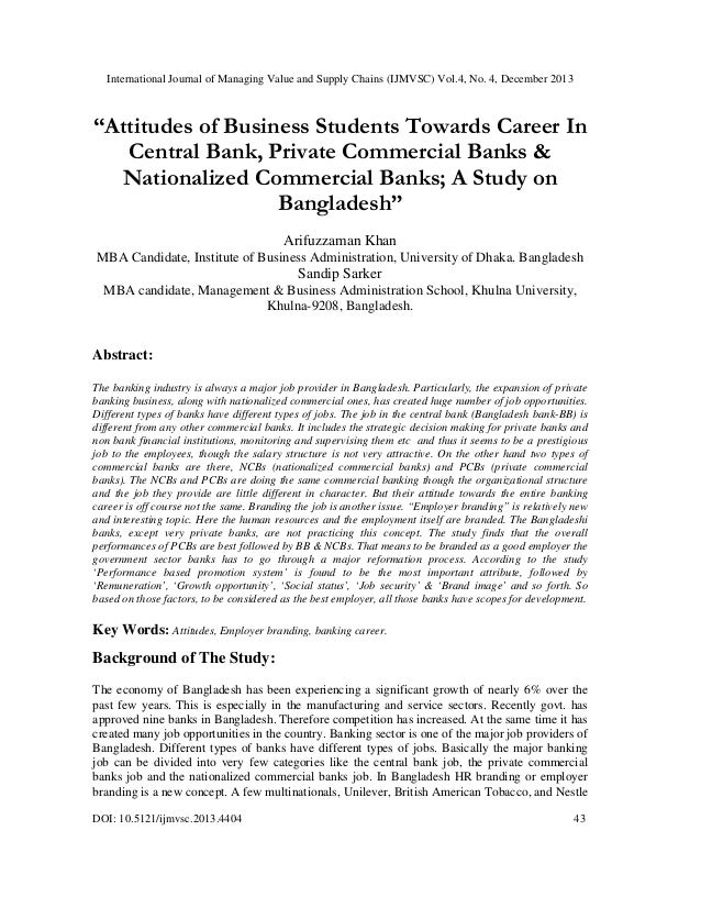 """Attitudes of Business Students Towards Career In Central Bank, Private Commercial Banks & Nationalized Commercial Banks; A Study on Bangladesh"""""""