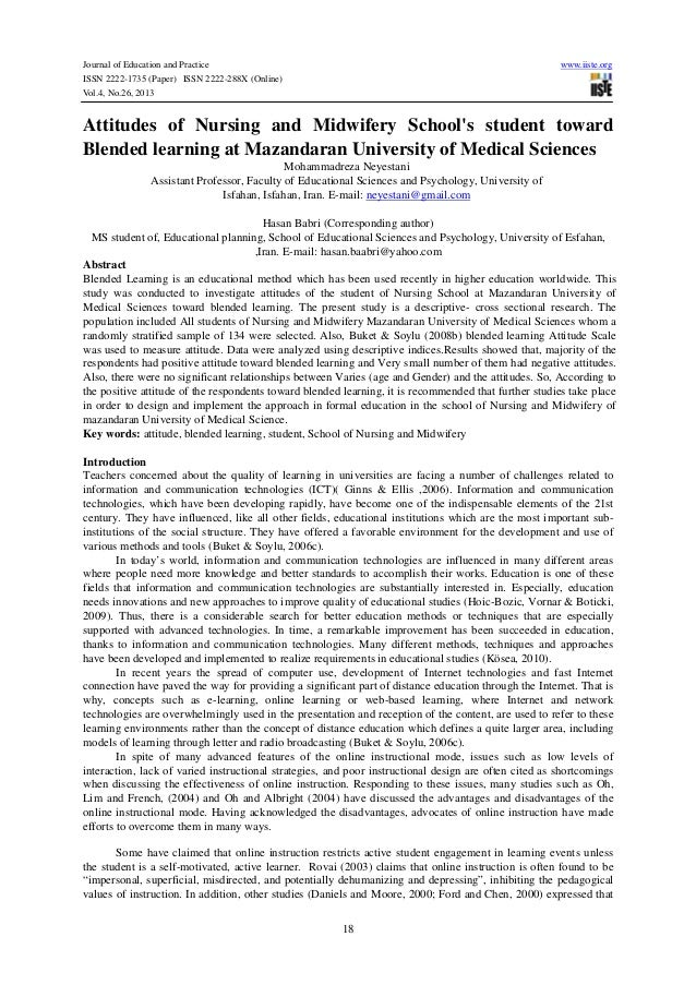 Attitudes of nursing and midwifery school's student toward blended learning at mazandaran university of medical sciences