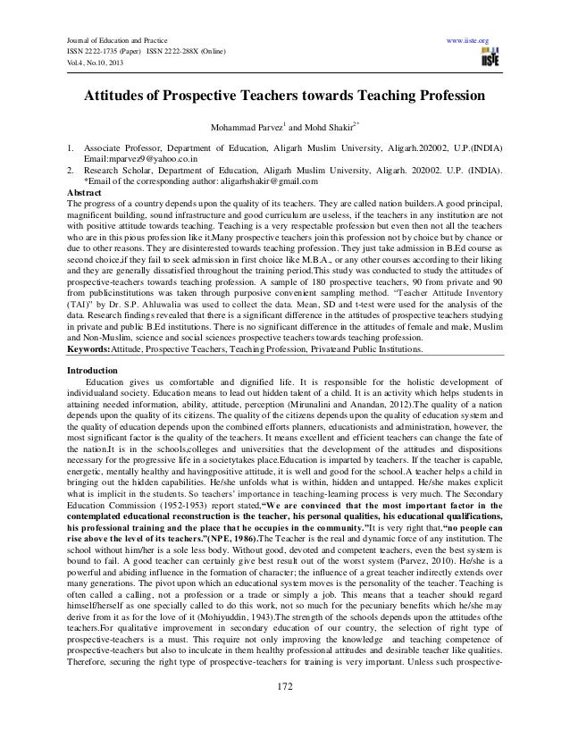 Journal of Education and Practice www.iiste.org ISSN 2222-1735 (Paper) ISSN 2222-288X (Online) Vol.4, No.10, 2013 172 Atti...