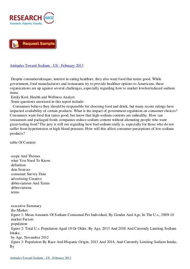 Attitudes Toward Sodium - US - February 2013 Available on Researchmoz.us