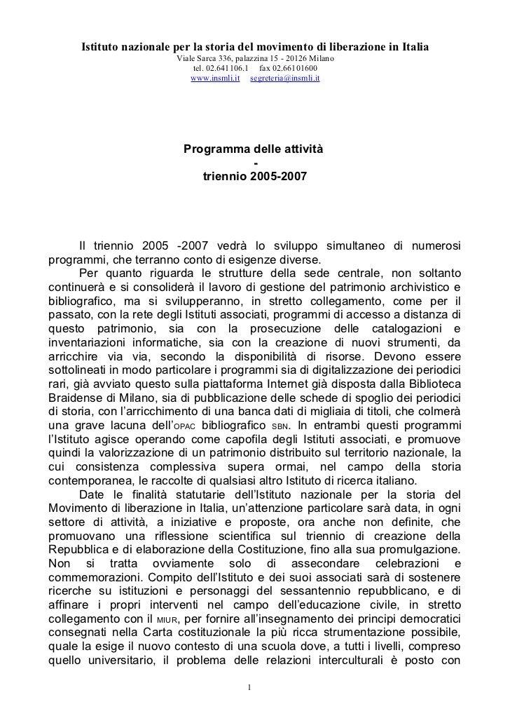 Attività programmate 2005-2007