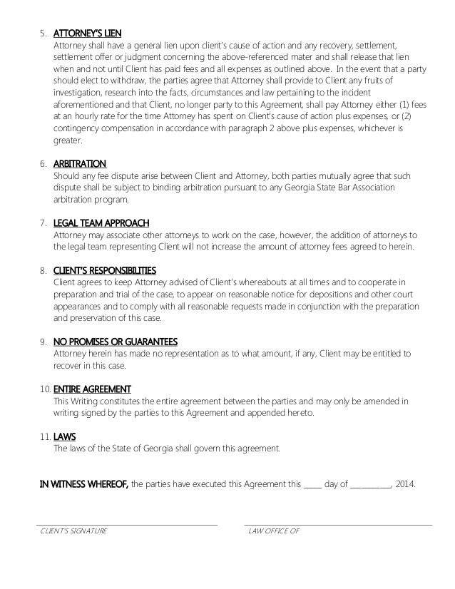 Lawyer Client Agreement Free Printable Documents