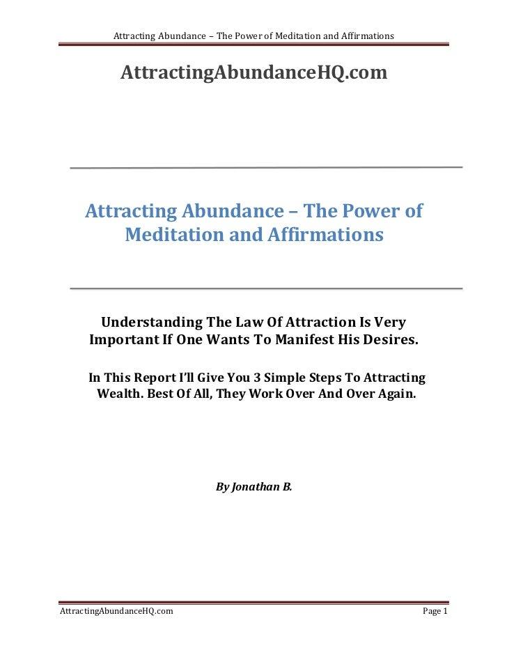 Attracting Abundance – The Power of Meditation and Affirmations             AttractingAbundanceHQ.com     Attracting Abund...