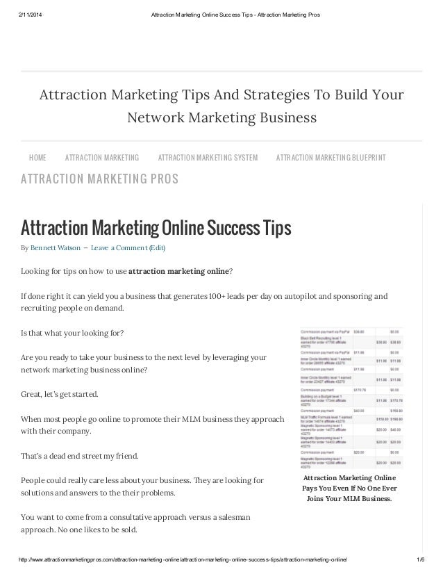 Attraction marketing online success tips   attraction marketing pros