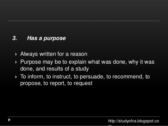 Purposes of technical writing