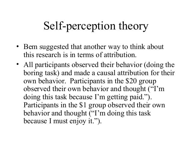 self perception theory The influence of popular culture on society's self-perception 2846 words | 12 pages the influence of popular culture on society's self-perception popular culture has an undeniable influence on how society perceives itself.