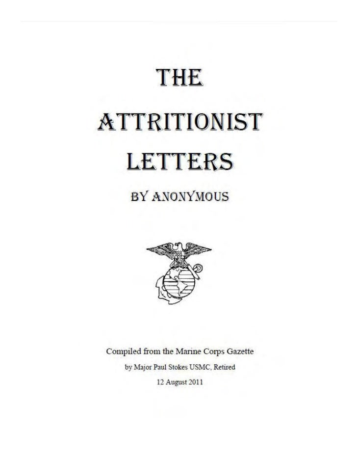 Attritionist letter #13