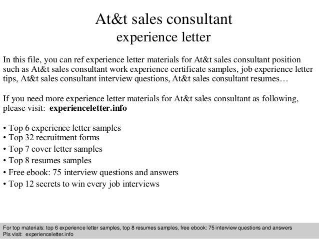 at t sales consultant experience letter in this file you can ref