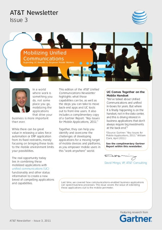 AT&T NewsletterIssue 3          Mobilizing Unified          Communications          Expanding UC Benefits to Empower Mobil...
