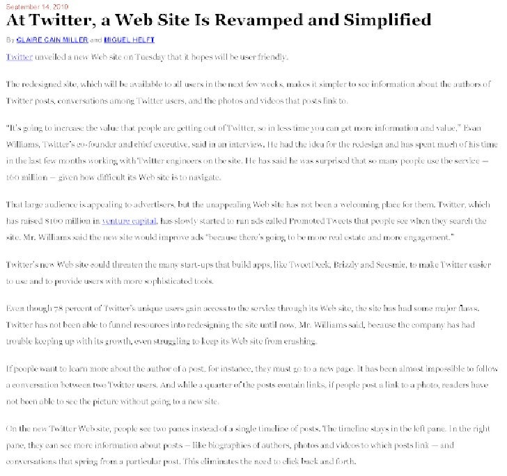 At twitter, a web site is revamped and simplified