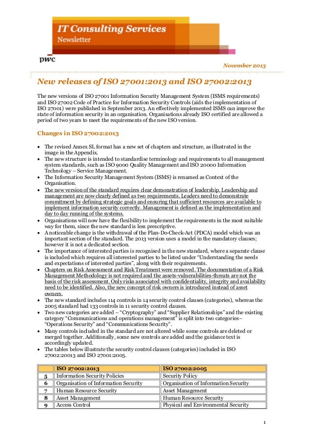 ISO 27002 2013 Atualizações / mudanças