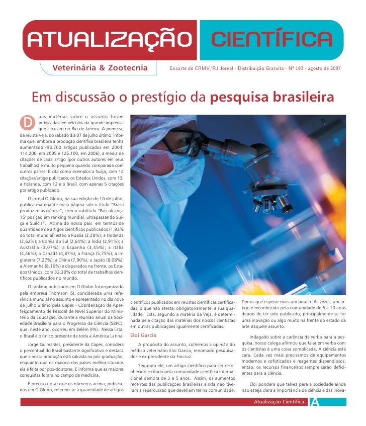 Veterinária & Zootecnia                                         Encarte do CRMV/RJ Jornal - Distribuição Gratuita - Nº 193...