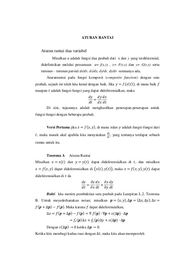 Aturan rantai 2 variable