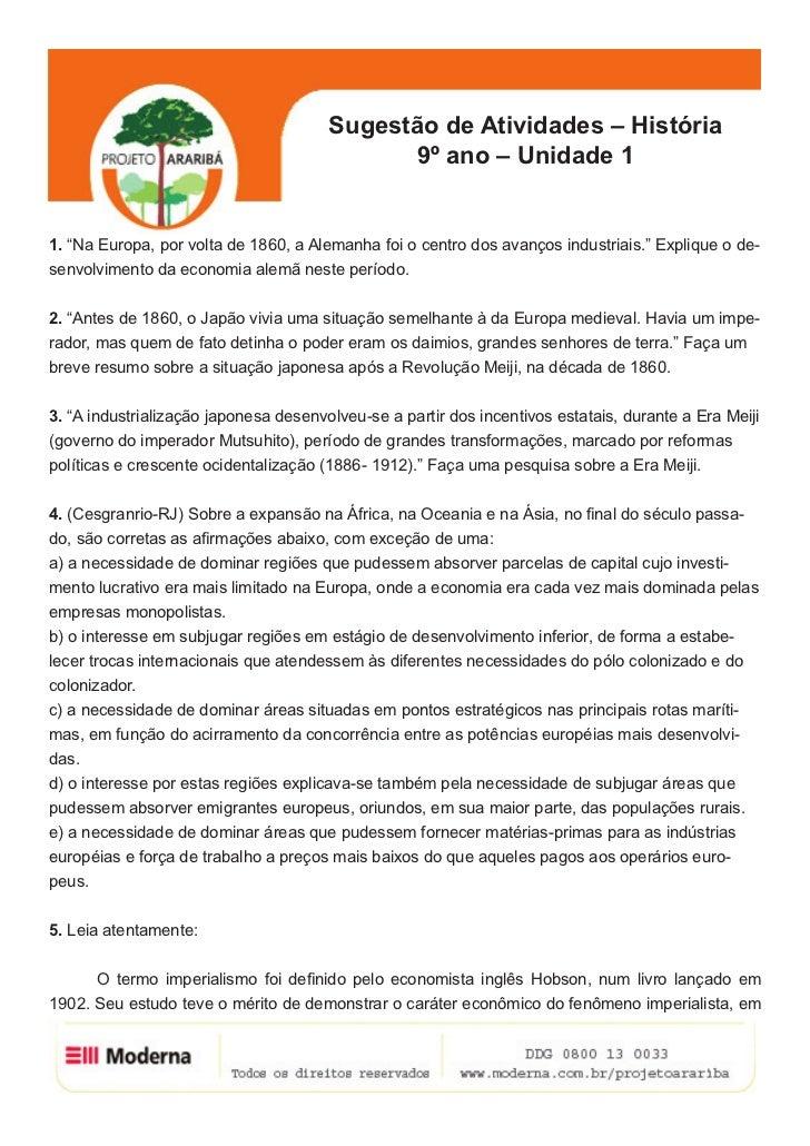 """Sugestão de Atividades – História                                             9º ano – Unidade 11. """"Na Europa, por volta d..."""