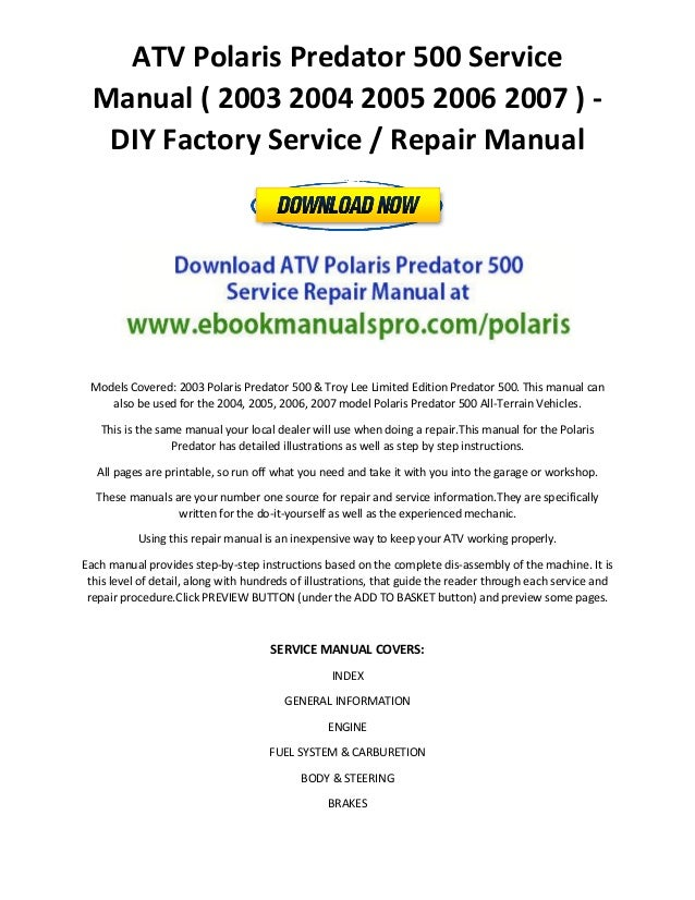 ATV Polaris Predator 500 Service Manual 2003 2004 2005 2006 2007