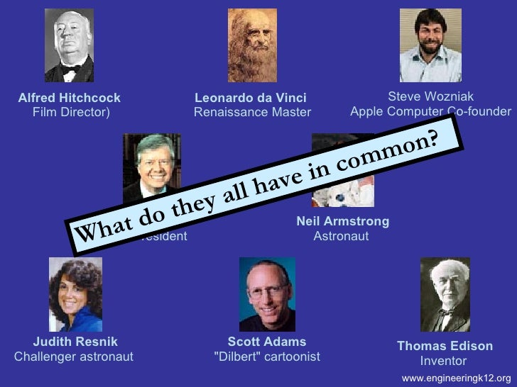www.engineeringk12.org What do they all have in common? Jimmy Carter 39th President  Neil Armstrong Astronaut  Alfred Hitc...