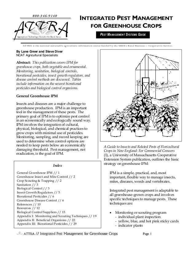 Integrated Pest Management for Greenhouse Crops