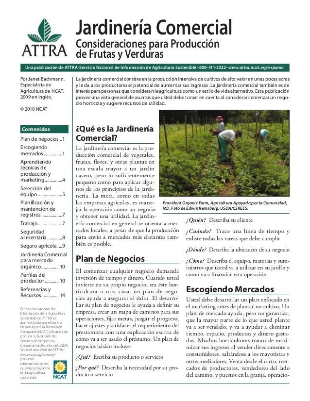 Jardinería Comercial: Consideraciones para Producción de Frutas y Verdur