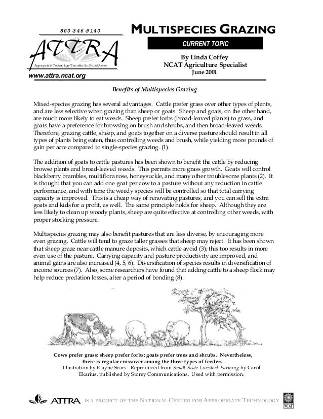IS A PROJECT OF THE NATIONAL CENTER FOR APPROPRIATE TECHNOLOGY www.attra.ncat.org Benefits of Multispecies Grazing Mixed-s...