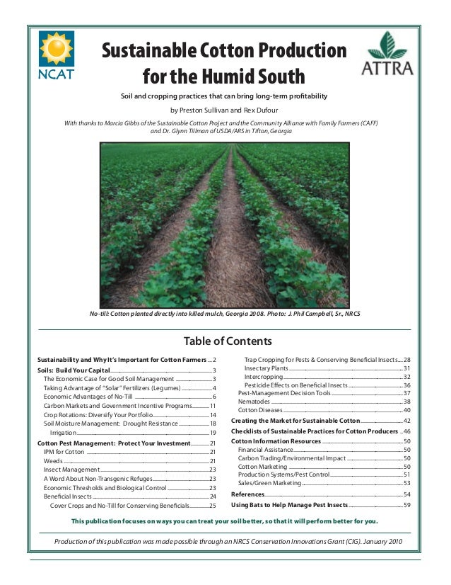 Sustainable Cotton Production for the Humid South Soil and cropping practices that can bring long-term profitability by Pre...