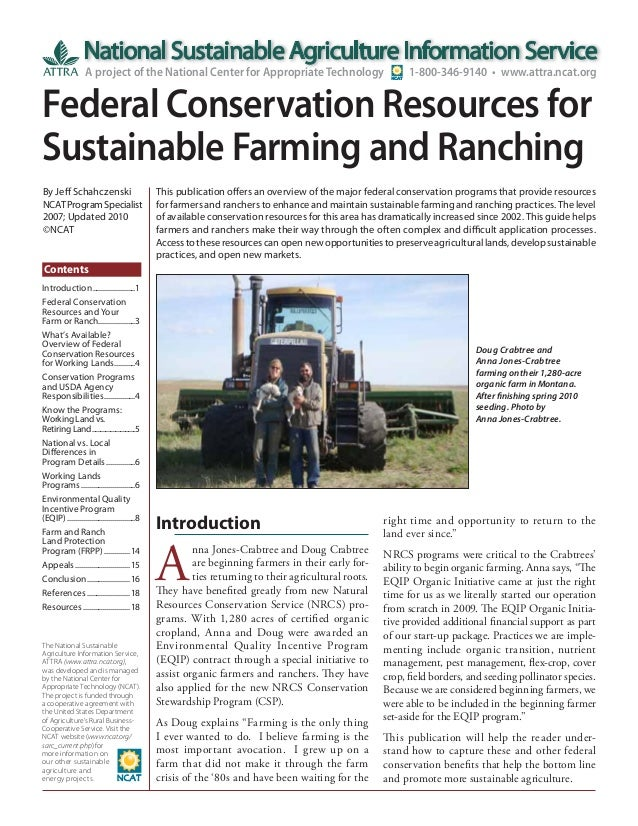 Federal Conservation Resources for Sustainable Farming and Ranching