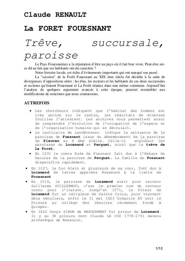 Claude RENAULT  La FORET FOUESNANT  Trêve, paroisse  succursale,  Le Pays Fouesnantais a la réputation d'être un pays où i...