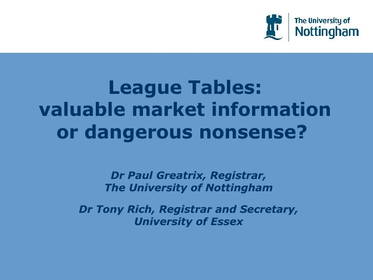League Tables: valuable market information or dangerous nonsense?  Dr Paul Greatrix, Registrar, The University of Nottingh...